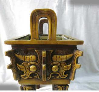"Zmrui 12 ""Chine fina puro cobre incensario tallado Ding hornilla incienso estatua de cuivre décoration bronze usine Pur Laiton"