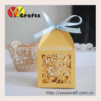 Модные маленькие золотые ручной работы, лазерная резка свадьбы и вечеринки коробки сувенирные