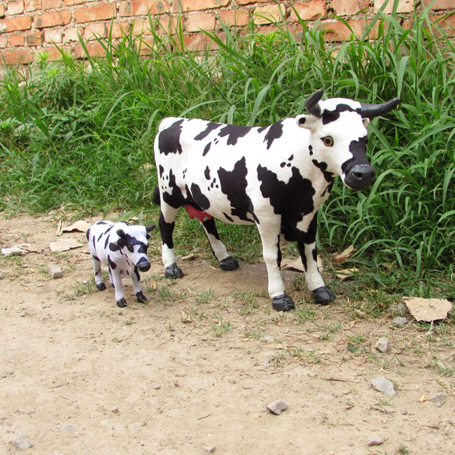 simualtion cow model plastic& furs dairy cow large mother & little child cow toy home decoration Xmas gift w5760 dairy cooperative in bhutan