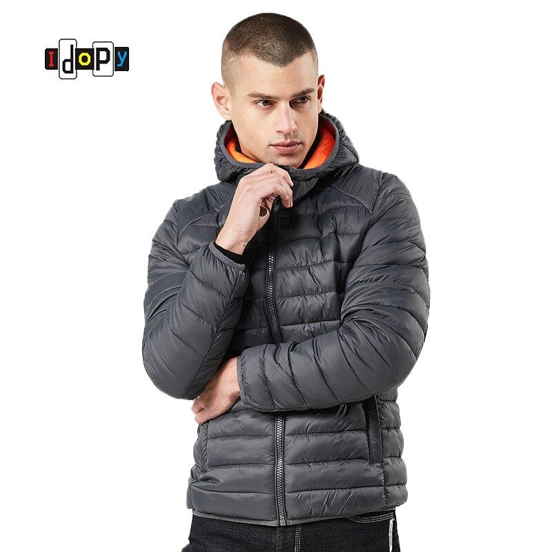 Idopy homme hiver MA-1 blouson aviateur Style de rue chaud rembourré pilote veste de vol et manteau Slim Fit chaud Parka