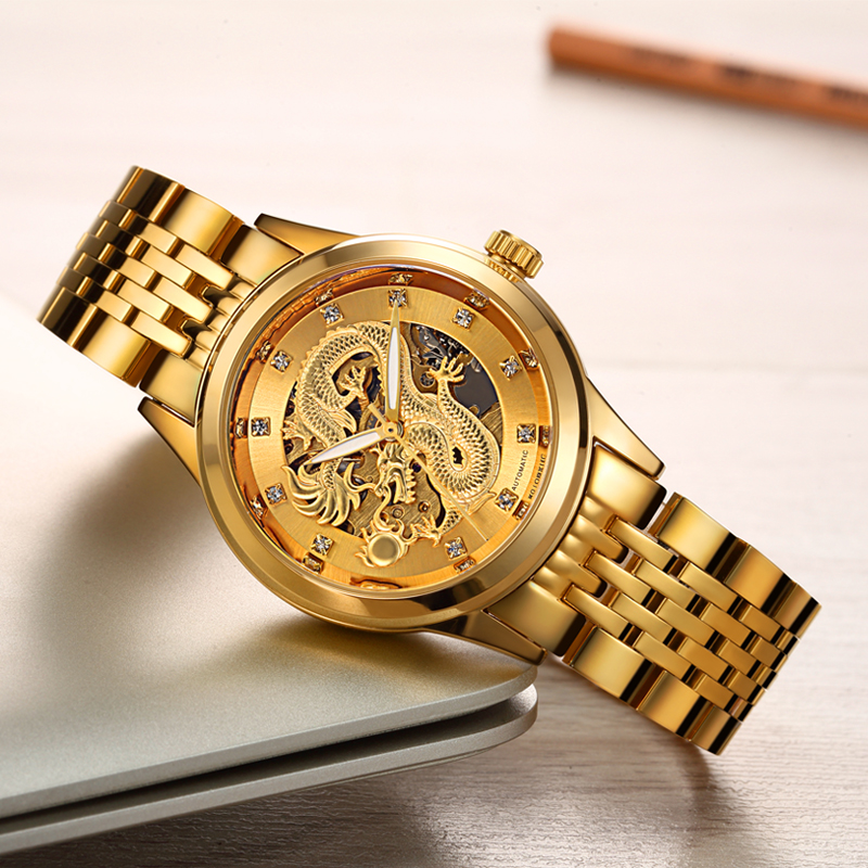 WLISTH Automatic Watch Business Luxury Men's Watch Golden Steel Dragon Skeleton Mechanical Watch Water Resistant Luminous Hands(China)