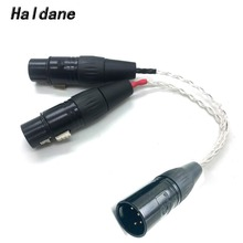 цена на Free Shipping Haldane 8 Cores 7N OCC Silver Plated 4-pin XLR Female to 2x 3-pin XLR Male Balanced cable Headphone Audio Adapter