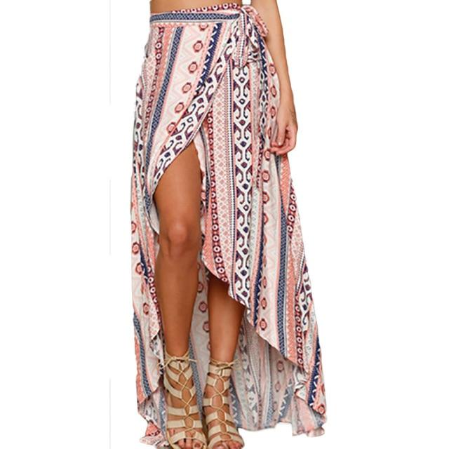2017 Nueva Primavera Las Mujeres Faldas Largas de Bohemia de Playa Casual Maxi Faldas de Encaje de Cintura Alta Faldas de Las Mujeres de Moda Saia Longa Venta
