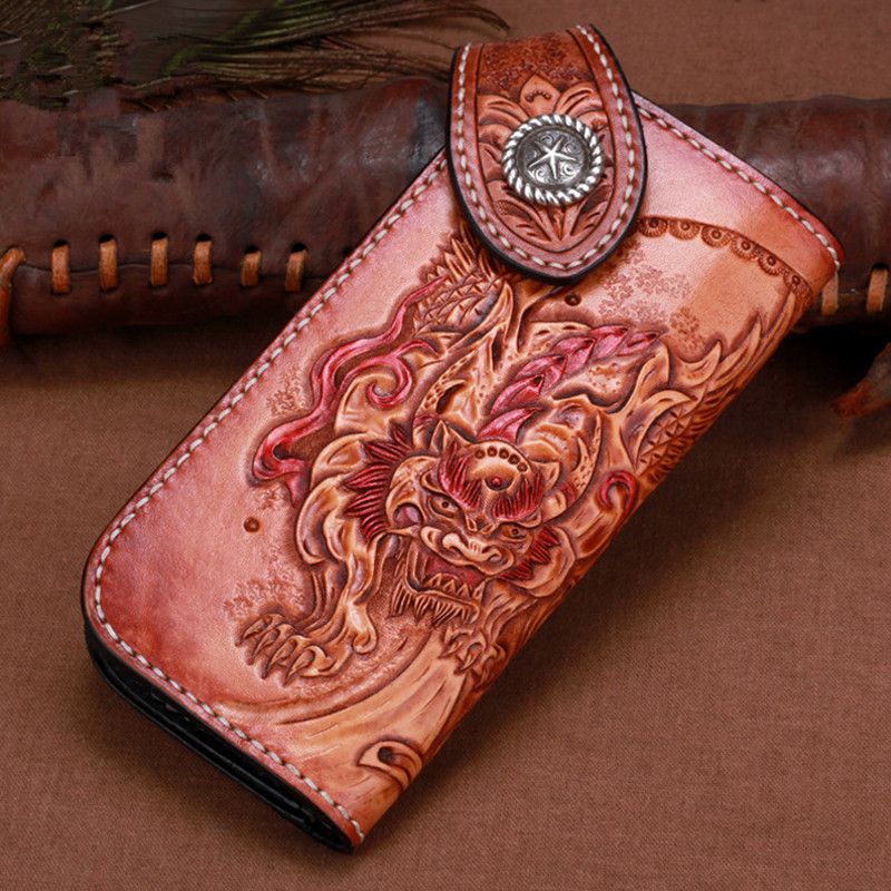 Original Men Genuine Leather Wallets Carving Unicorn Get Rich Bag Purses Women Long Clutch Vegetable Tanned Leather Wallet Gift vintage genuine leather wallets carving lion hasp bag purses women long clutch vegetable tanned leather wallet fathers day gift
