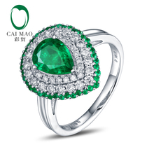 Antique 14K White Gold 1.70ctw Natural Emerald H SI Diamond Engagement Ring
