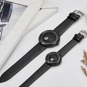 Image 5 - Basit sevgili saati Minimalist Pikap Erkek Kadın Izle Deri Kayış Pürüzsüz Kuvars Saatı Erkek Bayanlar Saat Hediyeler relogio