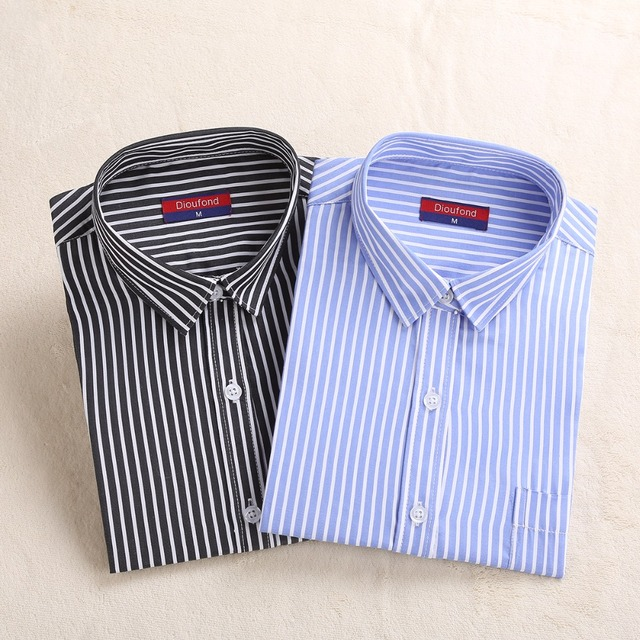 168a51b9 Dioufond Striped Blouse Shirt Long Sleeve Cotton Work Striped Shirt Red  Blue Ladies Office Shirts Shool Chemisier Femme Regular