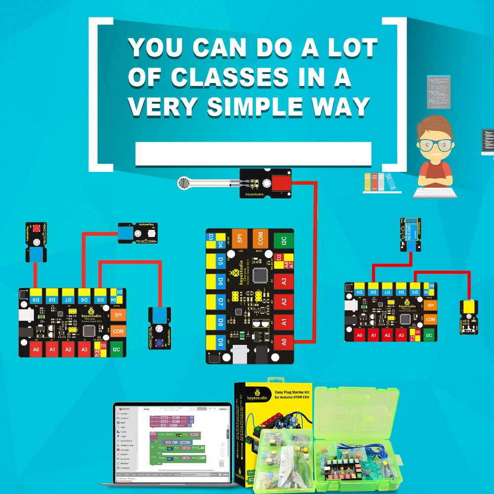Keyestudio prise facile RJ11 Super Kit d'apprentissage de démarrage pour tige Arduino EDU/Compatible avec le codage de bloc Mixly