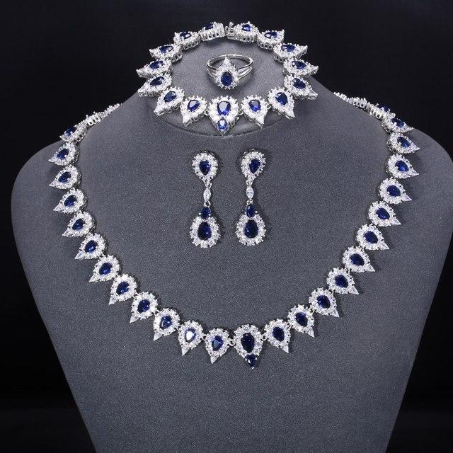 ZHE FAN Women Luxury Bridal Jewelry Sets Water Drop Blue Glass Pave AAA CZ Zirconia 4 Pcs Earrings Necklace Ring Bracelet Set