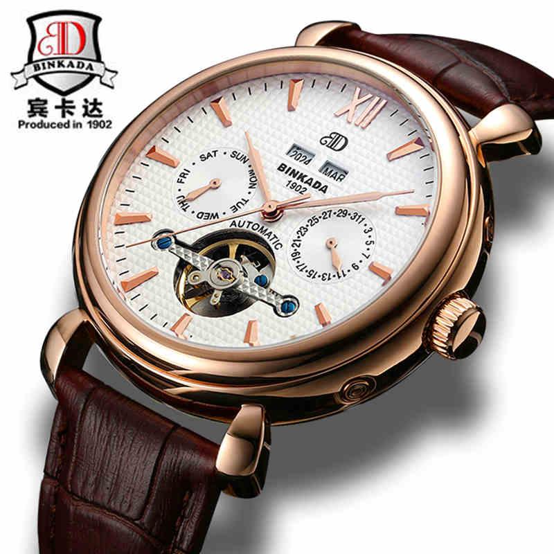 2017 montres pour hommes montre mécanique automatique horloge tourbillon en cuir décontracté relojes hombre top marque BINKADA luxe|luxury brand|luxury luxury brand|luxury brand top -