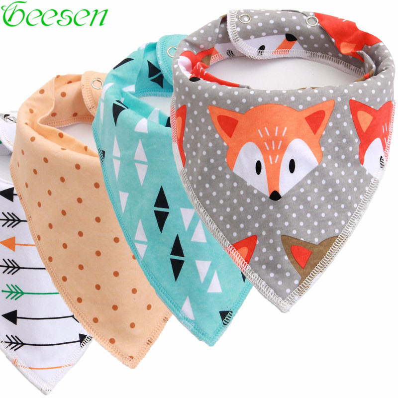 Reusable Washable Cotton Baby Bibs Burp Cloth Print Arrow Wave Triangle Baby Bibs Cotton  Adjustable Baby Meal Bib Infant Bibs(China)
