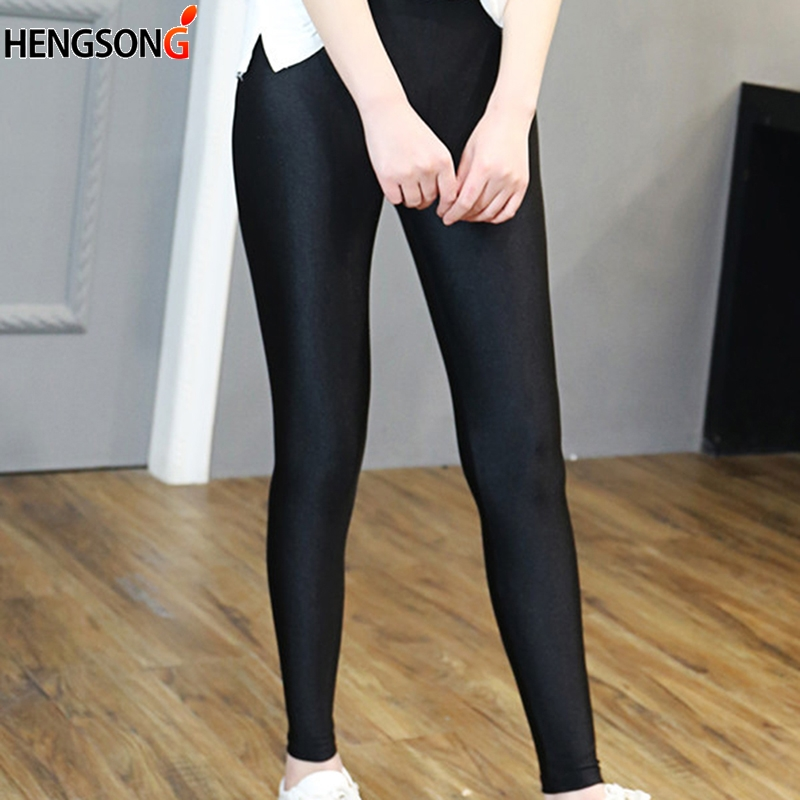 Women's Workout Leggings Casual Shiny Glossy Legging Female Fiteness Leggins Plus Size S-5XL Black Solid Leggings