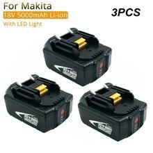 3 шт. сумму Мощность заменитель инструментов батареи с светодиодный 5000 мА/ч, литий-ионный аккумулятор для Makita 18 V Батарея BL1830 BL1840 BL1850 BL1860 LXT400