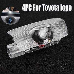 4X led light door logo for Toyota Highlander Camry Corolla Bill Prado logo laser projector light ghost shadow lamp accessories(China)