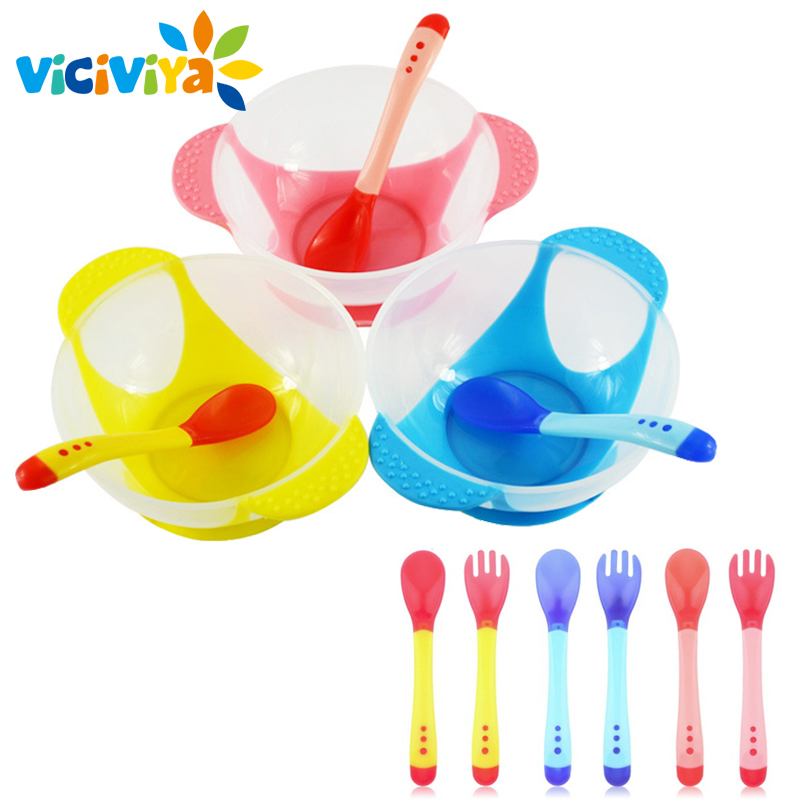 VICIVIYA Baby food Infant Feeding Bowl With Sucker Temperature Sensing Training Spoon Tableware for children Baby dishes#