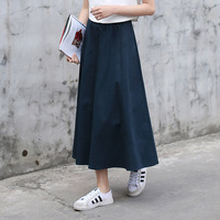 New Spring Navy Blue Vintage Chinese Style Cotton Linen Midi Skirt Elestic Waistband High Waist Long