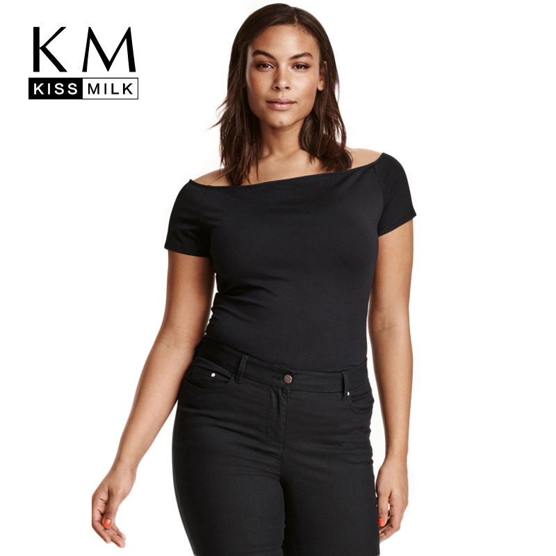 Kissmilk Plus Size Fashion Women Clothing Casual Solid Sexy T-shirt Slash Neck Off Shoulder Short Sleeve Tops Big Size Tees