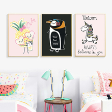 Nordic Cute Cartoon Penguin White Horse Pineapple A2 A3 A4 Canvas Art Print Poster Picture Wall Children Bedroom Home Decoration