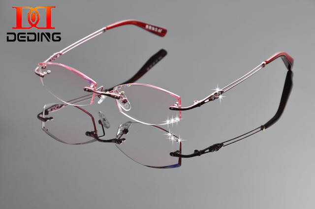 1df8c5dd165 DeDing New Pure Titanium Brand Glasses Frame Diamon Trimming Eyeglasses  Women Rimless Frame Myopia Prescription Glasses