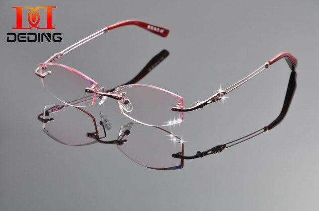 Tent DeDing nueva titanio puro gafas de marca marco Diamon recorte anteojos sin montura mujeres marco gafas graduadas miopía DD1250