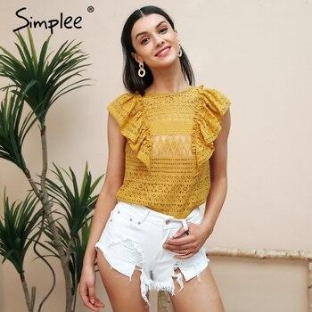 Simplee Sexy sleeveless ruffle lace blouse women O neck transparent white blouse shirt 2018 Elegant summer blusa feminian top