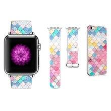 Дизайнерский цветной ромбовидный ремешок для Apple Watch 38 мм 40 мм 42 мм 44 мм ремешок для iWatch 1 2 3 4 ремешок подарок для IPhone чехол