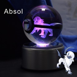 Crystal Pokeball Absol 8CM Crystal Transparent Glass Crtoon Animal Design Inside Action Figures Toy Christmas Gift