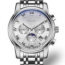 SOLLEN мужские механические часы полые стальные автоматические три большие набрать моды часы световой водонепроницаемый SL801 Limited Edition