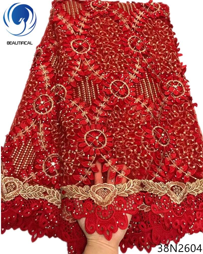 Beautifical сетки кружева с бисером красный 3d кружевной ткани с аппликациями кружевная ткань с горный хрусталь поступление 5 ярдов для вечерние ...