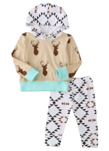 Autumn Newborn Baby Boys Home Outfits Clothes Deer Long Sleeve Hooded Tops+Long Pants 2PCS Set 0-24M