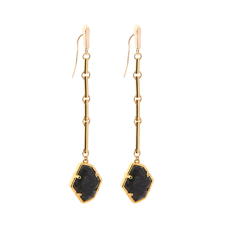 ZWPON Brand Designer Irregularity Hexagon Stone Dangle Earrings Women Long Geometric Jewelry Wholesale