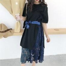 2017 women's summer elegant solid bandage two piece set short sleeve long shirt with lace midiskirt cotton casual women set