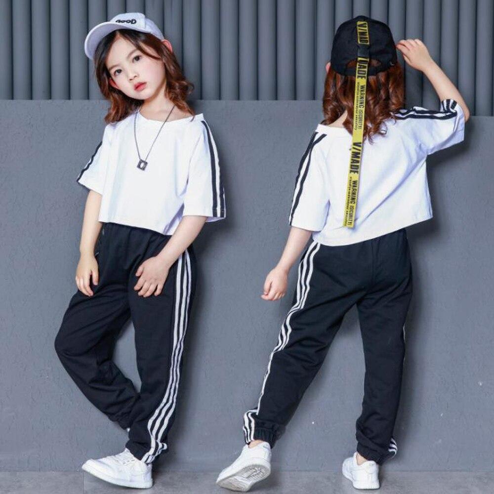 Ropa de baile de salón suelta para niños Jazz Hip Hop danza competencia disfraces niñas camiseta blanca ropa de escenario ropa de baile de fiesta trajes