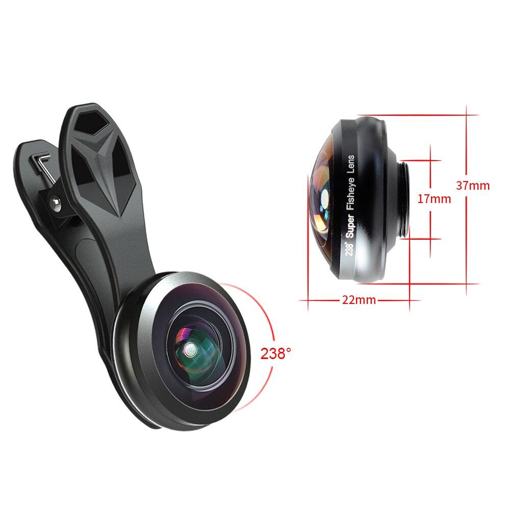 Apexel universal fisheye lente 238 grados ojo de pez 0.2x marco ...