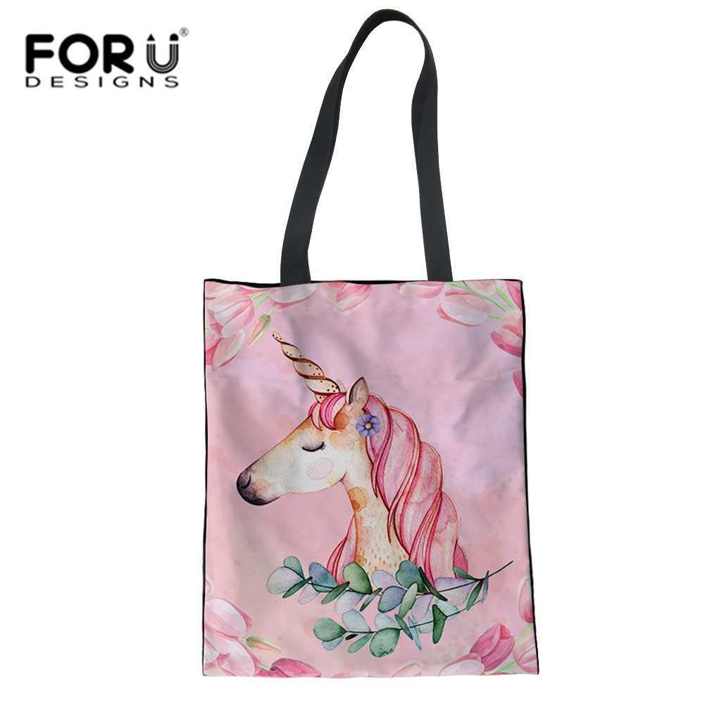 FORUDESIGNS Fashion Pink Unicorn Grocery Tote Shopping Bags Folding Eco Shoulder Bag For Girls Women Summer Travel Beach Handbag
