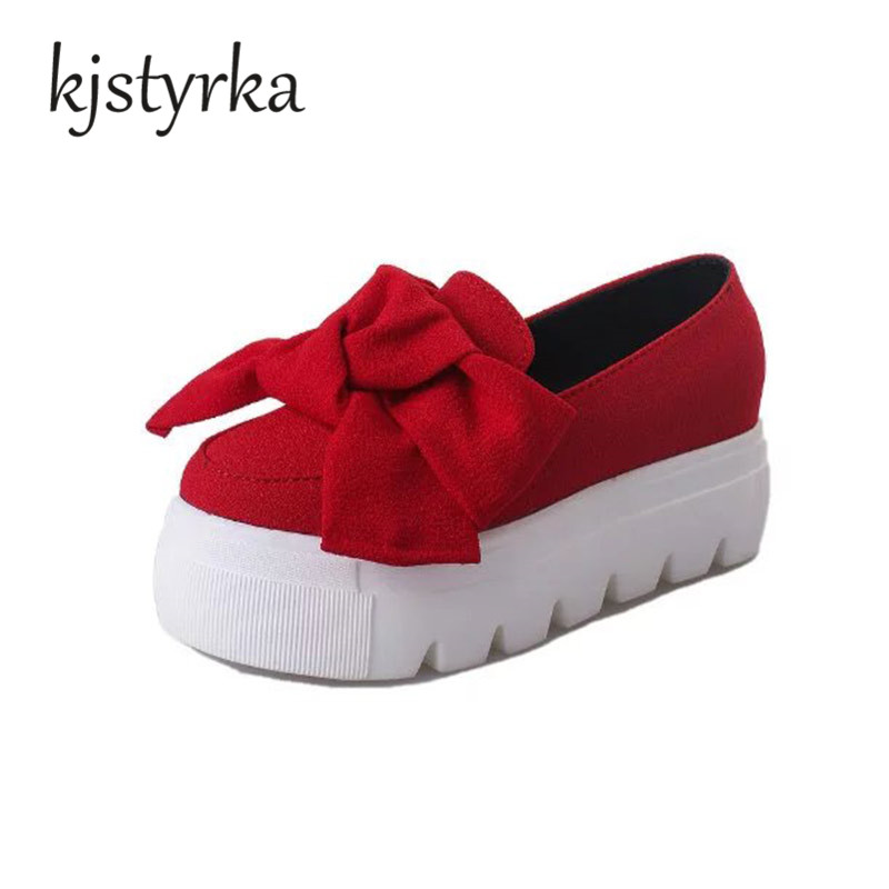 New 2017 Autumn spring moccasin womens flats Fashion creepers shoes Bow lady flats loafers Ladies Slip On Platform 5CM Shoes hot 2017 new fashion womens weave shoes spring summer mixed color breathable casual shoes flats slip on loafers tenis feminino