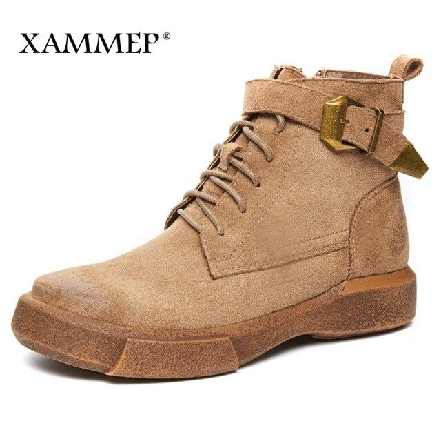 Брендовая женская обувь; Зимние ботильоны; женская зимняя обувь; Ботинки martin; однотонные плюшевые ботинки из натуральной коровьей замши на платформе; Xammep