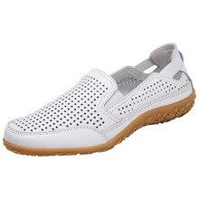 Plus Size Women Sandals Split Leather Soft Bottom Summer Shoes Woman Leisure Flats Cut out Slip On Mum Flat Sandalias SH061201