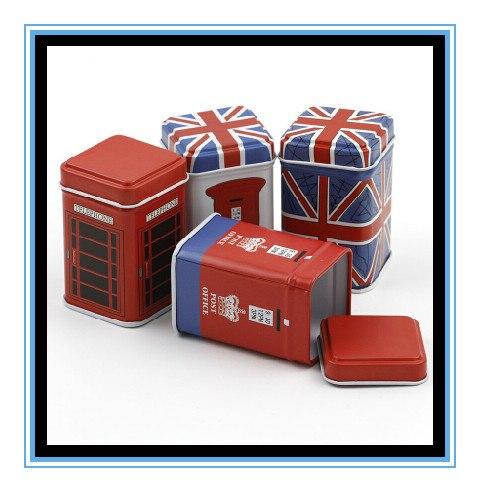 Atacado 8 pc/lote reino unido estilo Europa Vermelho Mini Lata caixa de Palito Caixa De Armazenamento/Caixa de Jóias Quadrado/caixa de dinheiro da moeda/presente de casamento/favor de Partido