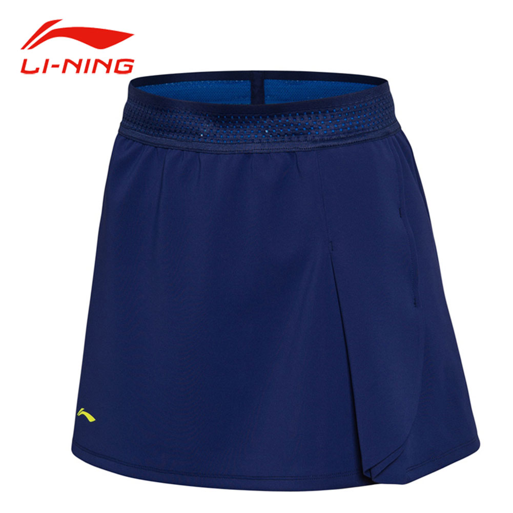 Li-Ning Women Badminton Skirt Shorts Jacquard Waist Stylish Pleat Skirts LiNing Professional Competition Sports Suits ASKN016 stylish mid waist candy color slimming shorts for women page 4