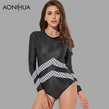 AONIHUA 2018 new Sport Surfing One Piece Swimsuits Women Long sleeve slim Rash Guards female Push up Beach Swimwear bodysuit