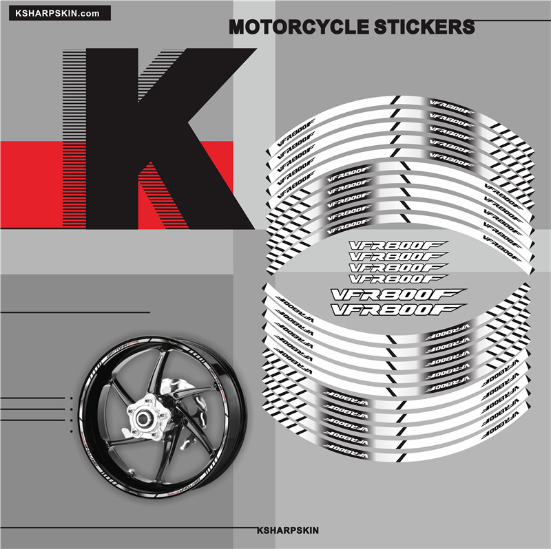 Motorcycle Tyre Stickers Inner Wheel Reflective Decoration Decals For HONDA VFR800F Vfr 800 F
