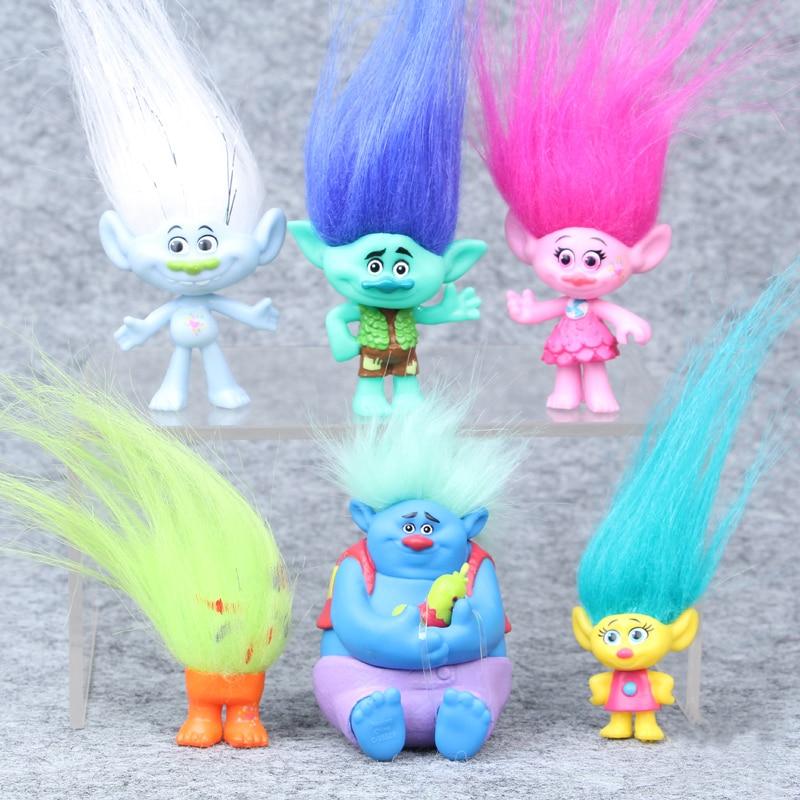 6Pcs/Set Trolls PVC Action Figures Trolls Cartoon Collectible Dolls Poppy Branch Biggie Trolls Toys Model Gifts for Kids 3-7CM