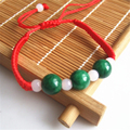 1pcs Natural 3pcs Round Green Jade charms Beads Red String Rope Adjustable Bracelet