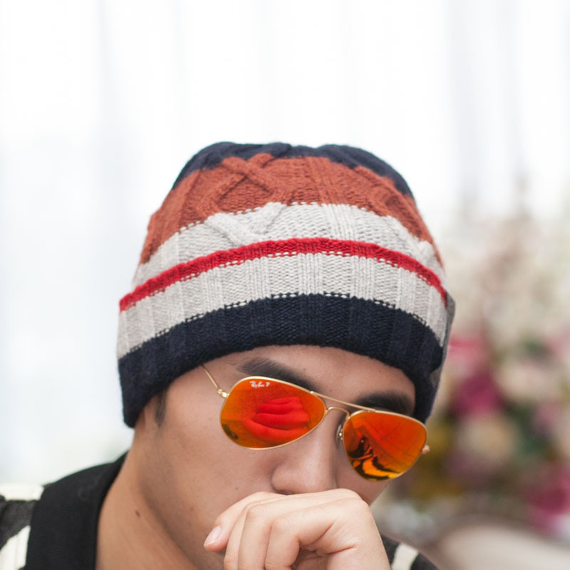 Hat Men Hats Winter Men's Knitted Cap Oversize Wool Skullies & Beanies Knit Cap Keep Warm Caps Cheap Winter Boy's Hat 2015 knitted skullies cap the new winter all match thickened wool hat knitted cap children cap mz081