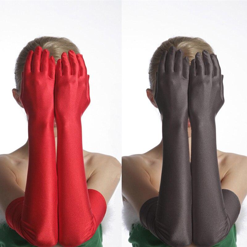 Women Black/White/Red Long Satin Strech Gloves Elegant Over Elbow Women Wed ding Glove Black Long Stretch Opera Gloves for Women