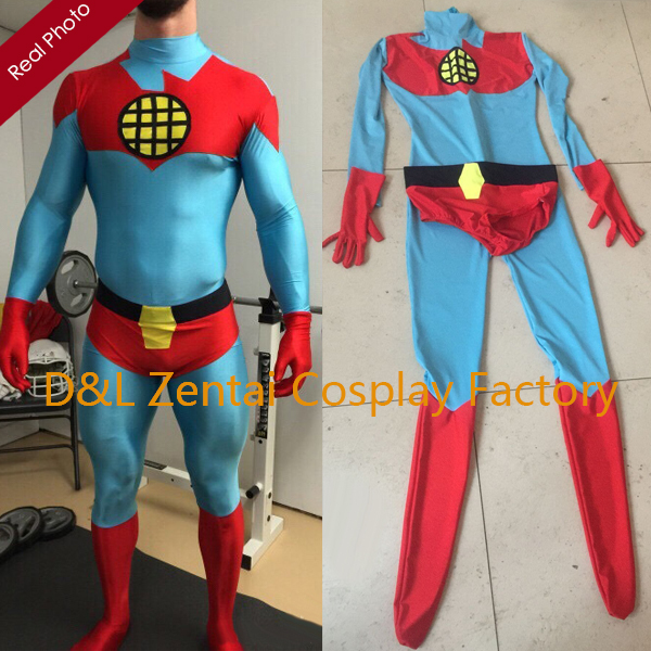 Free Shipping DHL 2016 Super Hero Blue & Red Captain Planet Superhero Costume Lycra Spandex Zentai Suit For Halloween SH1432