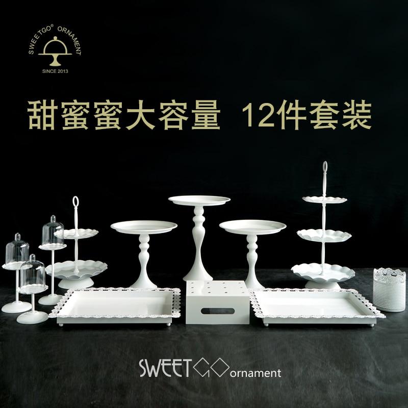 12 pièces gâteau stand blanc métal mariage gâteau outils cupcake décoration plateau pour fête événement dessert bonbons plaque cuisson affichage