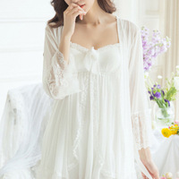 RenYvtil 2 Pics Free Shipping 2018 New Layers Lace Women's Robe Slip Pyjamas Princess Vintage Nightgown Set Beige Lace Sleepwear