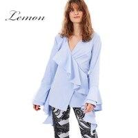 Haoduoyi limón azul sólido mujeres dulce Camisas Flare manga v-cuello Ruffles Encaje ocasionales moda femenina Blusas Oficina señora tops